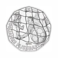 """Avstrija 5 evro 2004 - """"100 let nogometa"""" - UNC"""