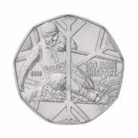 "Austria 5 euro 2005 - ""100 Years of Skiing"" - UNC"