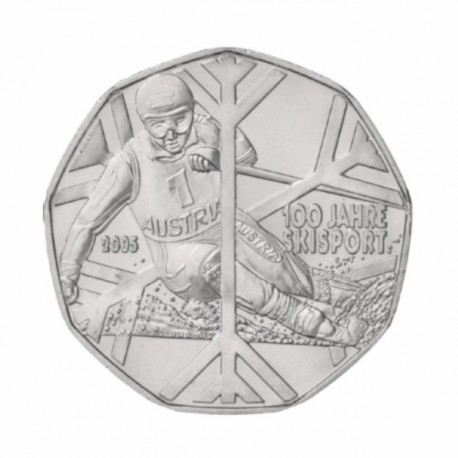"Austria 5 euro 2005 - ""100 Years of Skiing"" - UNC"