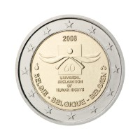 """Belgija 2008 - """"Človekove pravice"""" - UNC"""