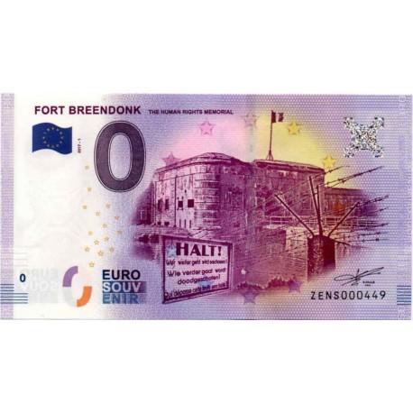 Belgija 2017 - 0 Euro bankovec - Fort Breendonk - UNC