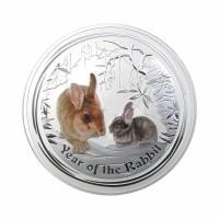 Avstralija Lunar II - Zajec (Barvni)- 1 oz srebrnik 2011