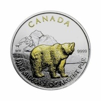 Canada - Wildlife - Grizzly 1 oz Silver 2011 - Gilded