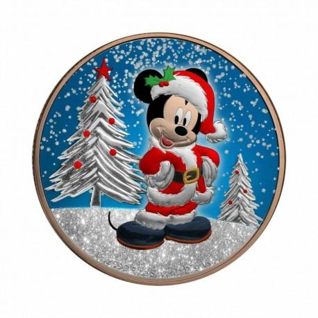 Niue 2019 - Mickey Christmas - Gilded with Diamond Dust 1 Oz Silver