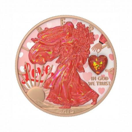 USA 2019 - Silver Eagle - Opal Heart Amulet 1 Oz Silver
