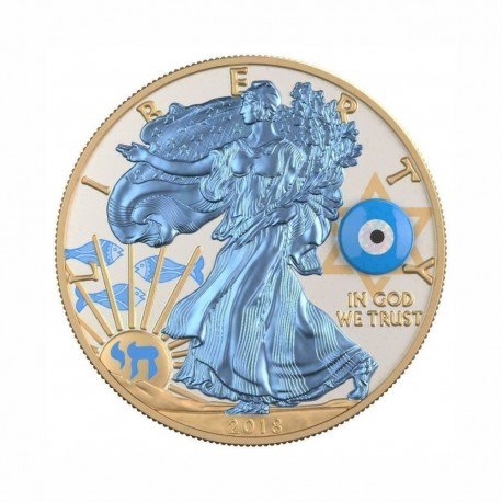 USA 2018 - Silver Eagle - Gemstone Evil Eye 1 Oz Silver