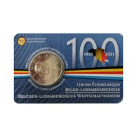 """Belgium 2021 - """"100 Years Of BLEU"""" - coincard (French version)"""