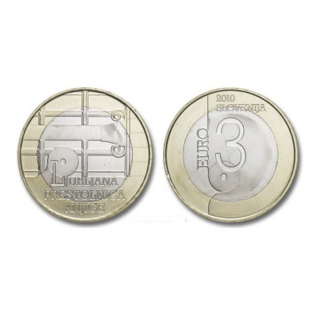 "Slovenia 3 euro 2010 - ""World Book Capital"" - UNC"