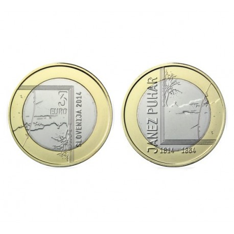 """Slovenia 3 EUR 2014 - """"Janez Puhar"""" - UNC"""