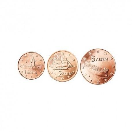 Greece 2009 1 cent - 5 cent set - UNC
