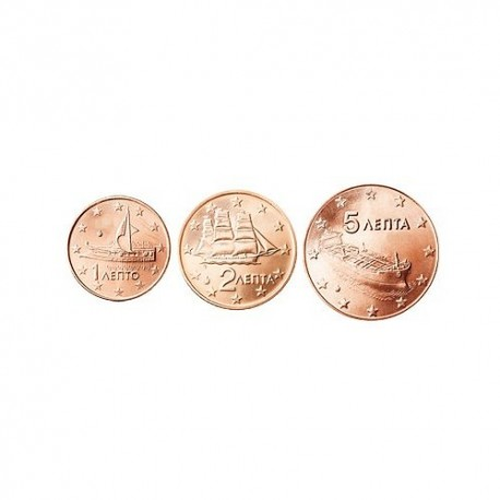 Greece 2012 1 cent - 5 cent set - UNC