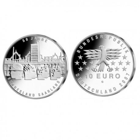 """Nemčija 10 evro 2007 """"Saarland - Posarje"""" - G - UNC"""