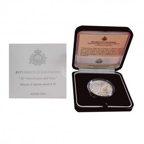 """San Marino 10 euro 2011 - """"10 let evra"""" - PROOF"""